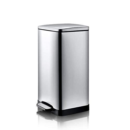 WEWE Gran Capacidad Cubo de la Basura,Acero Inoxidable Cuadrado Pedal Cubo de Basura,Anti-Olor Mute apaga depósitos de Suciedad-A 24.5x25.7x50cm(10x10x20inch)