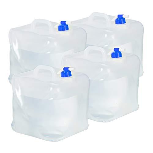 Relaxdays Faltkanister 4er Set, 20 l, Hahn, Schraubdeckel, Griff, Wasserkanister Camping, BPA-frei, transparent/blau