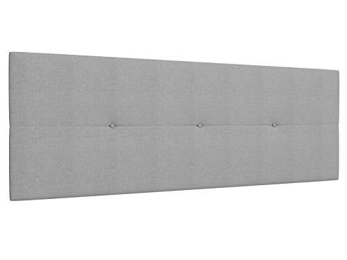 LA WEB DEL COLCHON Cabecero de Cama tapizado Acolchado Camile 160 x 55 cms Apto para Camas de 140, 150 y 160 Textil Poliester Gris Claro Incluye herrajes para Colgar con regulador de Altura