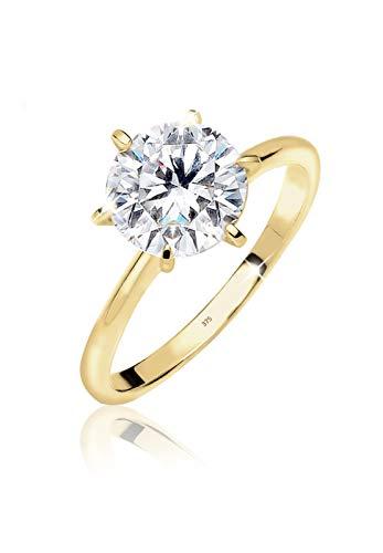 Elli PREMIUM Ring Damen Verlobung Solitär mit Zirkonia Steinen Funkelnd in 375 Gelbgold