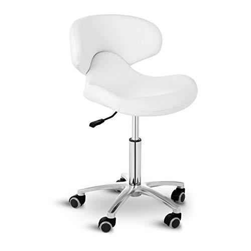 Physa Andria White Rollhocker mit Lehne Arbeitshocker mit Rollen höhenverstellbar Sitzhocker mit Rückenlehne (weiß, polierter Stahl, PVC-Bezug, 360° drehbare Rollen, Variable Sitzhöhe)