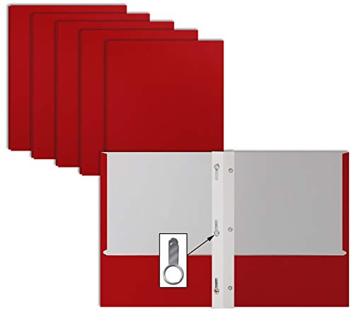 Red Paper 2 Pocket Folders with Prongs, 50 Pack, by Better...
