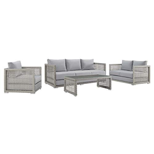 Modway Aura Outdoor Patio Wicker RattanSofa, Loveseat, Armchair and Coffee Table in Gray Gray