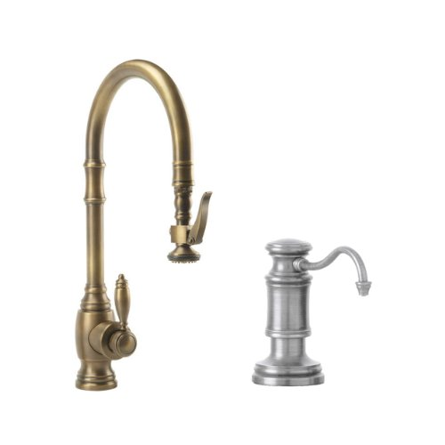 Waterstone 5600-2-AP Annapolis Kitchen Faucet Single Handle with Pull Out Spray, Soap/Lotion Dispenser, Air Gap and Air Switch, Antique Pewter