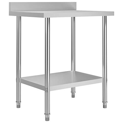 vidaXL Küche Arbeitstisch mit Aufkantung Verstellbare Füße Gastronomie Gastro Edelstahltisch Küchentisch Zerlegetisch Tisch 80x60x93cm Edelstahl