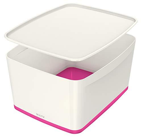 Leitz MyBox Grande con tapa, Caja de almacenaje para casa o la oficina, 18 litros, A4, Blanco/Rosa metalizado, Plástico brillante, 52161023