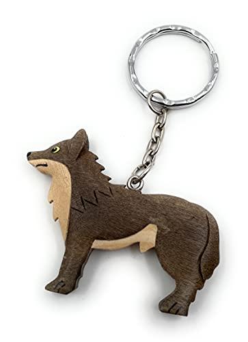 Onwomania Llavero de madera lobo animal depredador perro paquete animal pezuñas animal colgante...