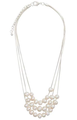 Womens Necklace Pendant Jewellery - Luxury 3 Tiered Matt Silver & Faux Cream Fresh Water Pearls Fashion Necklace for Women