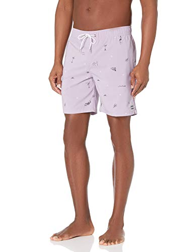 Billabong Men's Elastic Waist Stretch Sundays Layback Boardshort Swim Short Trunk, 17 Inch Outseam, Lavender, L