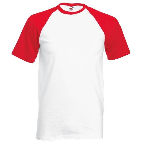 Fruit of the Loom T-Shirt de Baseball à Manches Courtes pour Homme (M) (Blanc/Rouge)