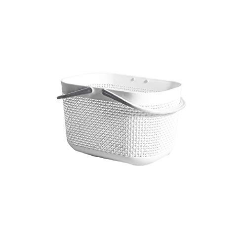JBNS Kunststoff-badekorb Imitation Rattan Hohl Storage Basket Multifunktionale Tragbare Badezimmer Box Wohnaccessoires Weiß