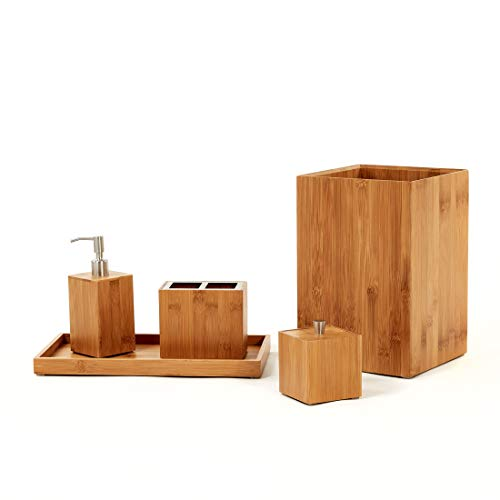 Seville Classics 5-Piece Bamboo Bath and Vanity Luxury Bathroom Essentials Accessory Set