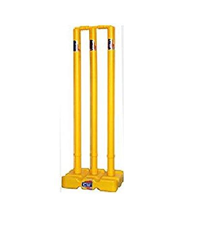 CW Juego de muñones de plástico pesado para jugar al cricket Gully Ground Wicket Set amarillo (colas + base + toque) para niños de 7 años y más