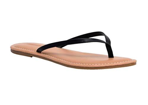 CUSHIONAIRE Women's Cora Flat Flip Flop Sandal, Black 8.5 with +Comfort