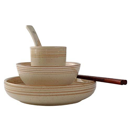 Vajillas combinadas Japonés retro de una persona Platos de cerámica Set Hogar Single Simple Desayuno Restaurante Estilo chino Vajilla comercial Juego de 5 piezas Juego de cuenco y plato