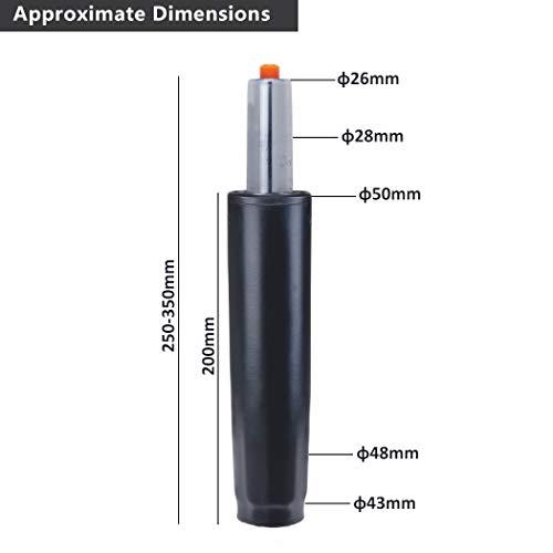 Duhome Gasdruckfeder Gasfeder Gas Lift Höhenverstellung für Stühle bis 180 kg Farbauswahl (27-35,5 cm, schwarz)