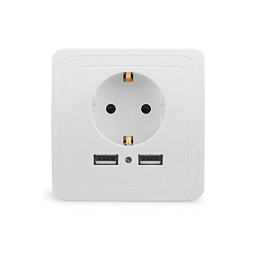 A0ZBZ Doble toma de pared de puerto USB, Toma de corriente dual USB 5V 2A Adaptador de corriente universal Para cargar el teléfono celular, tableta, MP3, altavoz Bluetooth (8,1 x 8,1 cm)