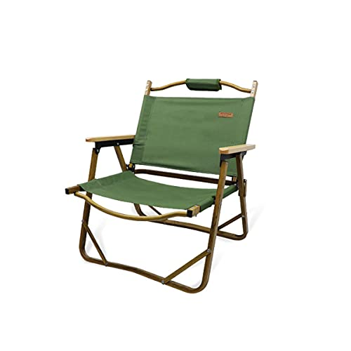 Liu Yu·casa creativa Muebles al Aire Libre Muebles de Madera portátil de Madera de Aluminio Plegable Silla de Camping con Beech apoyado,Forest Green,Standard