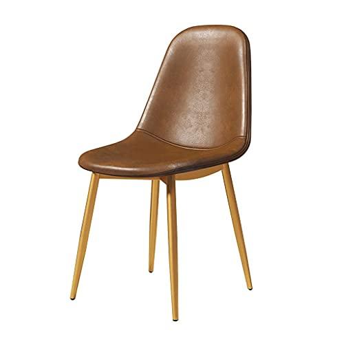 LSLY Nordic Dining Chair Küchenstühle Skandinavisch mit robusten Metallbeinen PU-Leder-Barstühle