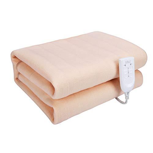 SHDHDI Elektrische verwarmingsdeken, met instelbare timer, voor het gezin, groot bed, waterdicht, dubbele bediening, automatische uitschakeling van de stroom.