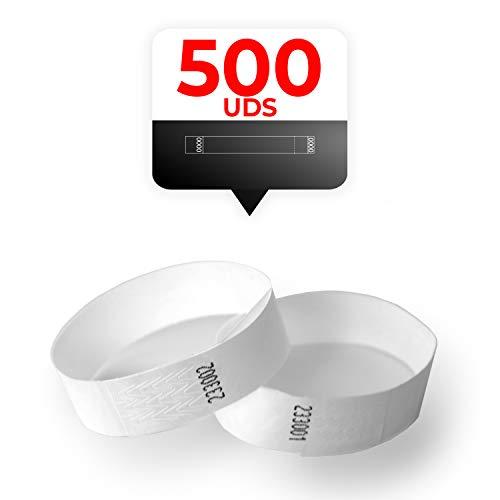 MP - Tyvek Pulseras 500 unidades para Eventos, Color Blanco