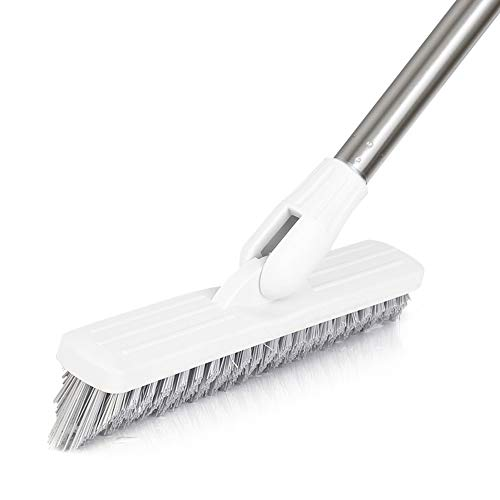 LandHope Tile Grout Brush Crevice Floor Scrub Brush 120°Rotatable Bathtub Clean Tool 9.06inches Wide 35.43inches Long Handle Grout Scrubber Indoor Kitchen Push Broom for Hard to Reach Areas