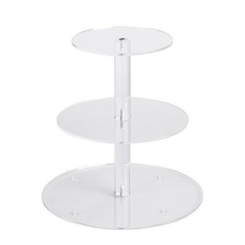 YestBuy 3 Tiers Round Party Wedding Birthday Clear Tree Tower Acrylic Cake Stand (3 Tier Round(4.7