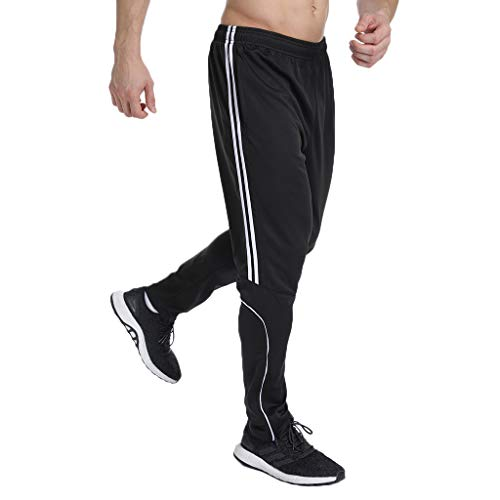 STARBILD Men's Athletic Track Pants Striped Soccer Training Pants Running Jogger Pants with Zipper Pockets L