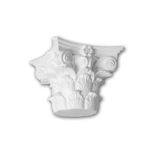 Capitel de columna Profhome 411301 Moldura de fachada Columna Elemento de fachada estilo corintio blanco