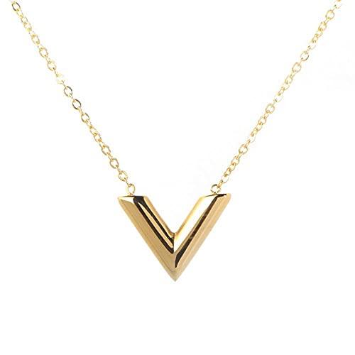 TTbaoz Collar Corto de Acero de Titanio para Mujer, Colgante Dorado en Forma de V, joyería de Fiesta gótica de Moda, Cadena para niñas