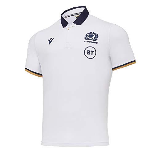 Macron SRU M20 Cotton Shirt SS SR, Maglia Replica Away Senior Scotland Rugby 2020/21 Uomo, Bianco, 3XL