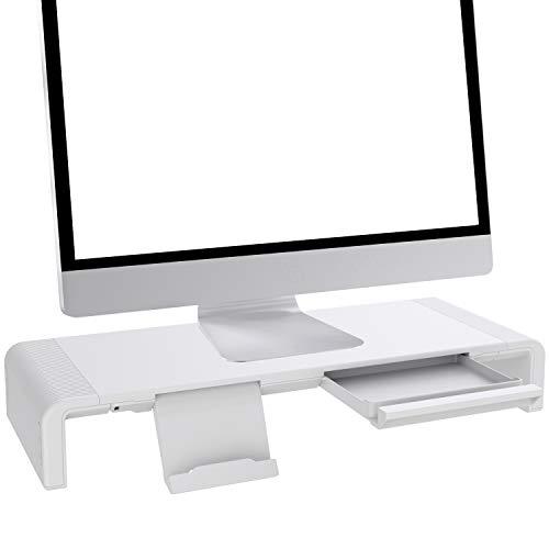 Faltbarer Monitorständer Riser TATEGUARD Computer Monitorständer mit Verstellbarer Breite kompatibel mit iM\'ac Drucker Laptop mit Aufbewahrungsschublade Tablet & Handyständer Halter Weiß