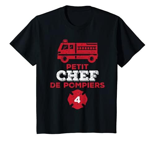 Enfant Chef de Pompiers 4ans Humour Anniversaire Garçon Cadeau T-Shirt