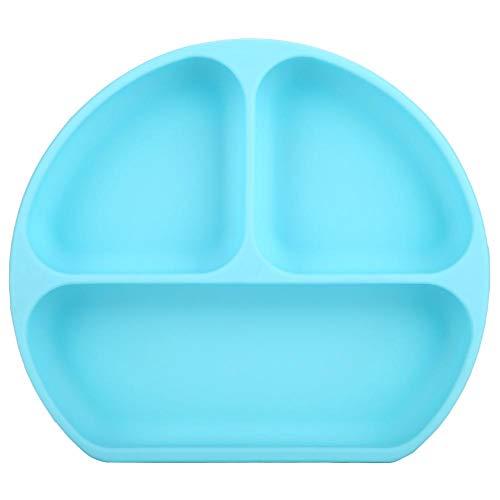Tovaglietta per Bambini & Piatto a Suzione Separata Piatti per neonati divisi in silicone per neonati Contenitori per alimenti antiscivolo e adattabili a qualsiasi superficie(Blue)