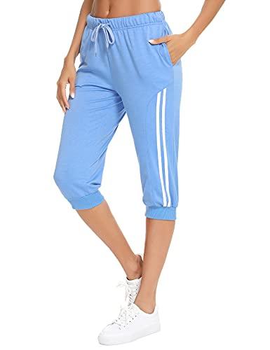 Doaraha Pantalones Pirata de Running Mujer Pantalón Capri Pants Deportivos 3/4 Capris Chándal Cintura Alta con Bolsillo para Deporte Yoga Fitness Correr Entrenamiento (Cielo Azul, M)