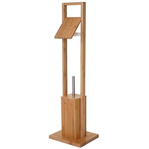 Arredo bagno serie HWC-B18 legno bambu portarotolo con scopino