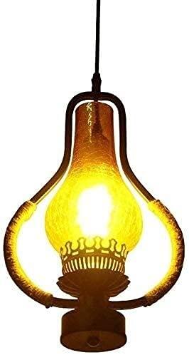 YQLWX - Lámpara de araña de madera rústica vintage con colgante de barril de vino de madera recuperada y óxido de metal