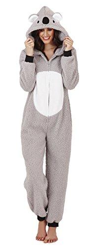 Pijama mono polar para mujer, longitud completa, con capucha gris Grey - Koala L