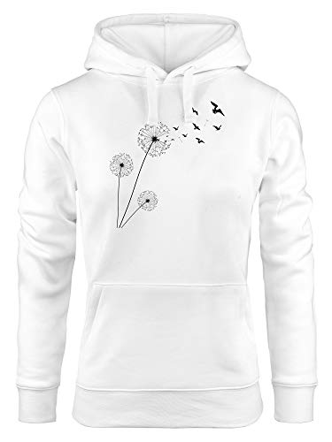 Neverless Sudadera con capucha para mujer, diseño de diente de león y pájaros, con capucha diente de león pájaro blanco XL