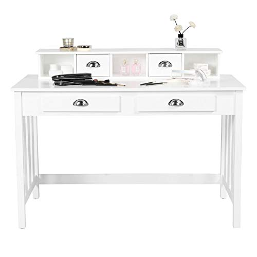 YAHEETECH Writing Computer Desk Modern Work Station Laptop Table Removable Floating Organizer Home Office Notebook Desk for Girls Wood Organizer with 4 Drawers Solid Pine Wood Legs, White
