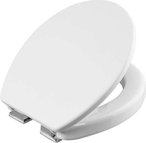 Cornat KSSLSC100 Safeline 2.0 Abattant de WC en Duroplast facile dentretien Forme surélevée Système dabaissement automatique Design simple Convient à toutes les salles de bain/lunette WC Blanc