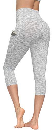 Lingswallow Yogahose mit hoher Taille, Yoga-Caprihose mit Taschen, 4-Wege-Stretch, Bauchkontrolle, Capri-Workout-Leggings für Frauen - - Groß