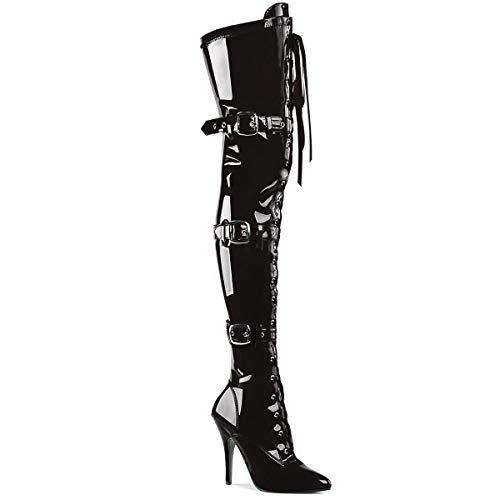[プリーザー] ニーハイ ブーツ 編み上げ ベルト 黒 エナメル サイズ 12