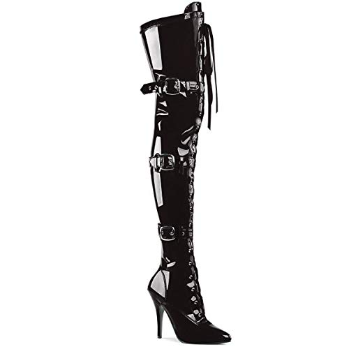Pleaser SEDUCE-3028, Damen Over-Knee Stiefel, Schwarz (Schwarz (Blk Str Pat)), 43 EU (10 Damen UK)