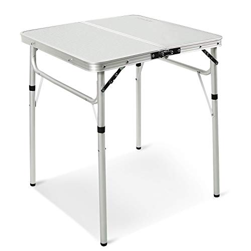 REDCAMP Small Square Folding Table 2 Foot, Adjustable Height Lightweight Portable Aluminum Camping Table for Picnic Beach Outdoor Indoor, White 24 x 24 inch