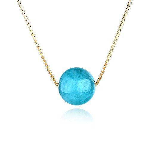 Dalwa 925 zilveren ketting dames met groene hanger, amazoniet natuurstenen sieraden, 14 karaat 585 goud vergulde ketting, ideaal geschenk voor vrouwen, incl. geschenkverpakking