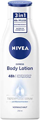 NIVEA Express Body Lotion (250 ml), extra schnell einziehende Körperlotion, 3 in 1 Formel: 48h Pflege, Geschmeidigkeit und natürlich schöne Haut