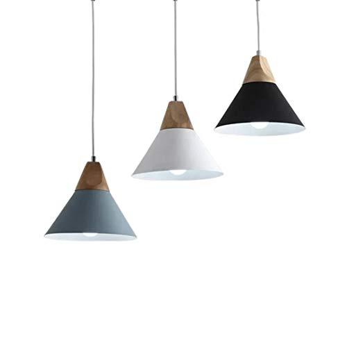 Lámpara colgante nordica Lampara de techo disponible en blanco, negro o gris (NEGRO, 25 cm)