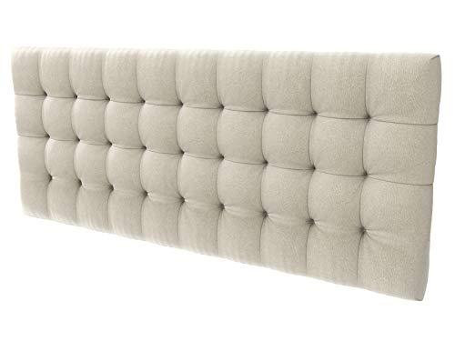 LA WEB DEL COLCHON - Cabecero tapizado Manhattan para Cama de 210 (220 x 70 cms) Beige Claro Textil Suave   Cama Juvenil   Cama Matrimonio   Cabezal Cama  
