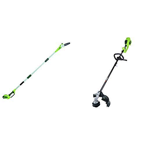 Greenworks 8.5' 40V Cordless Pole Saw, 2.0 AH Battery Included 20672 with 14-Inch 40V Cordless String Trimmer (Attachment Capable), Battery Not Included 2100202